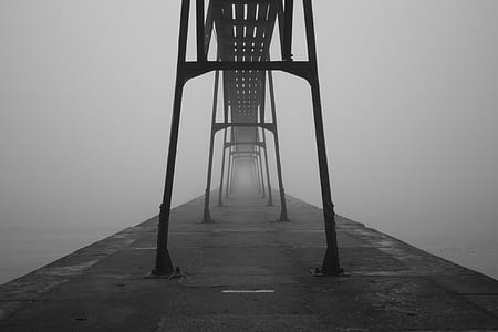 gray scale photo of road with fogs