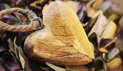 brown wooden heart pendant