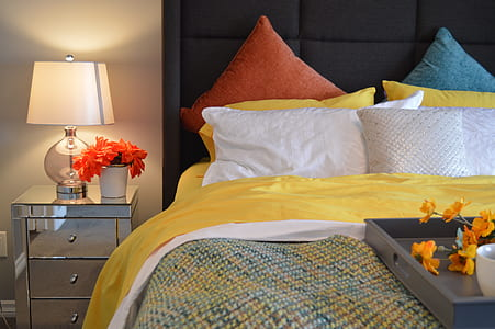 table lamp on stainless steel nightstand