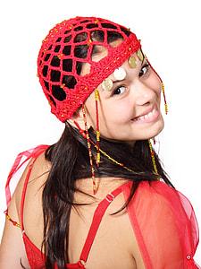 woman wearing crochet fringe cap