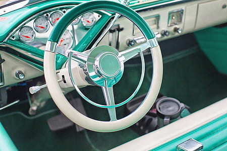 white and green car interior