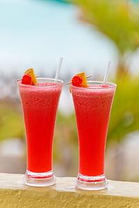 two red liquid juice