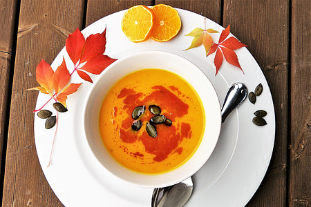 Overhead shot of Autumn pumpkin soup