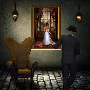 3D woman in white dress painting