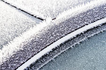 Frozen Car Windows and Doors Close Up