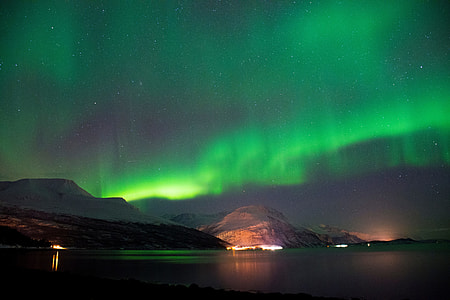 Night shot of the Northern Lights stars in Norway