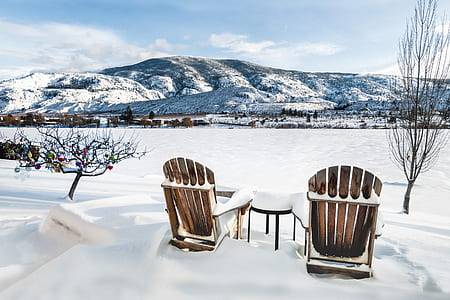 snow, winter, landscape, chair, seat