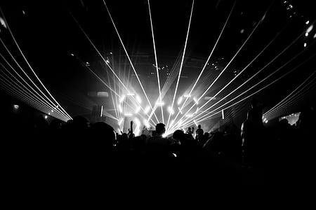 grayscale photography of concert with lights