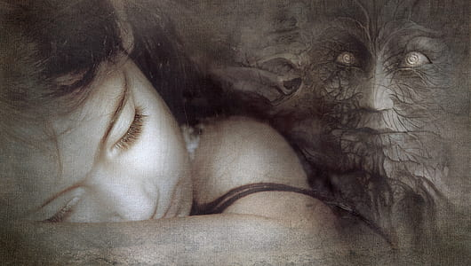woman lying on arm