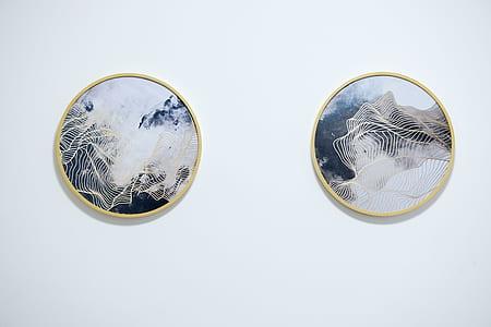 Two Round Mirror With Beige Frames