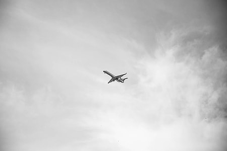 grayscale photography of airlines