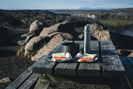 Camping breakfast in nature