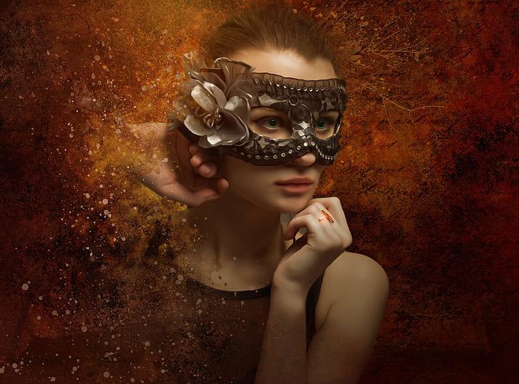 woman wearing black mask photography