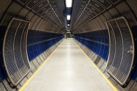 photo of blue and grey tunnel during daytime