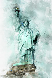 closeup photo of Statue of Liberty painting