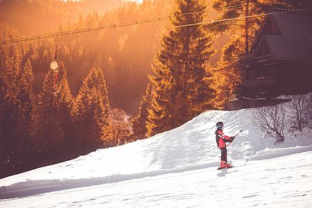 Little Skier On a Ski Lift