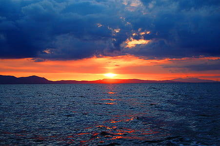 Photo of Sunset over Large Body of Water