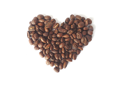 coffee beans in heart shape illustration
