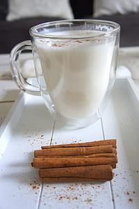 Cinnamon Sticks beside the Glass of Milk