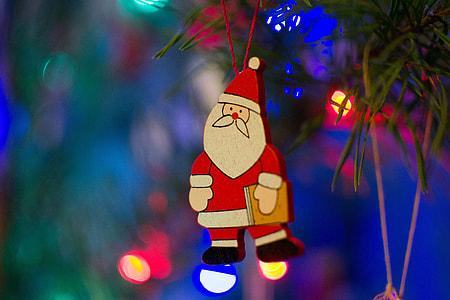 Santa Claus decoration on a Christmas tree