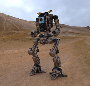 brown and black robot on brown soil
