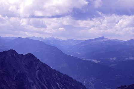 high angle photography of mountains