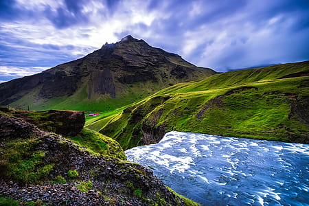 landscape photography of brown and green mountain range