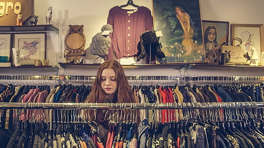 woman inside clothes apparel store