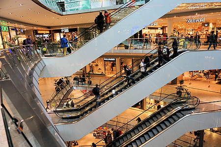 photo of mall escalators