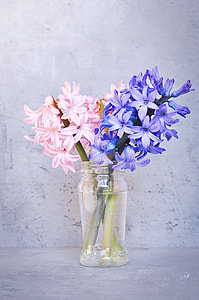 pink and purple lavender flower centerpiece in closeup photo