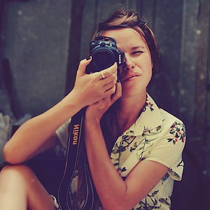 Woman Nikon Camera Vintage