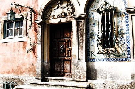brown closed panel door