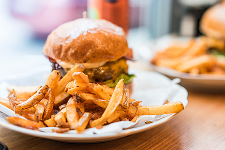 French Fries and Fresh Bacon Burger
