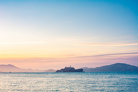 Lonely Alcatraz Island in The Middle of San Francisco Bay