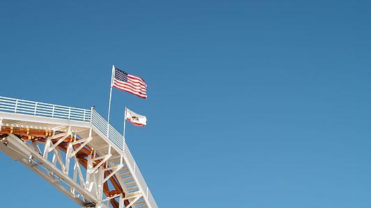 flag of U.S.A under blue sky