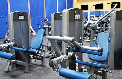 blue-and-gray exercise equipment lot