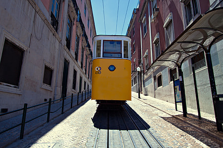 Wide angle shot of a classic yellow tram in the centre of Lisbon, Portugal