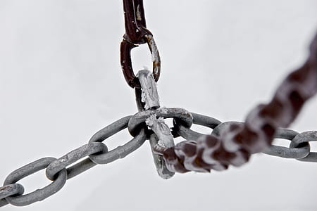 close-up photography of gray metal chain knotting each other