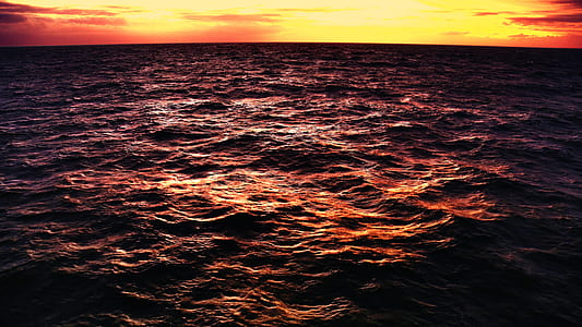 time lapse photo of body of water under the sunrise