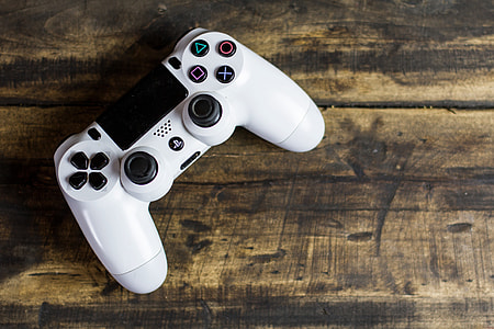 White PS4 gaming controller