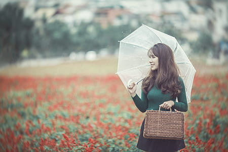 woman with white umbrella on red flower field