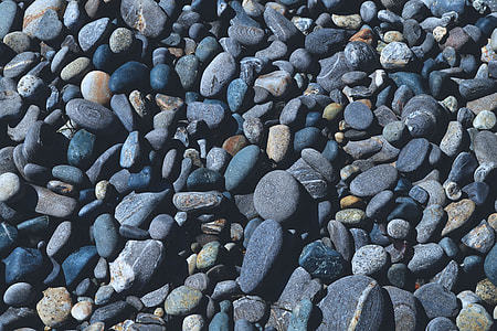 Overhead shot of pebbles on the beach