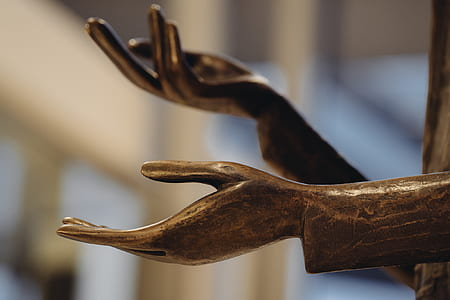 Red Wooden Hand Statue