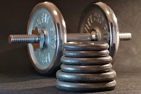 gray dumbbell and weighing plates closeup photo