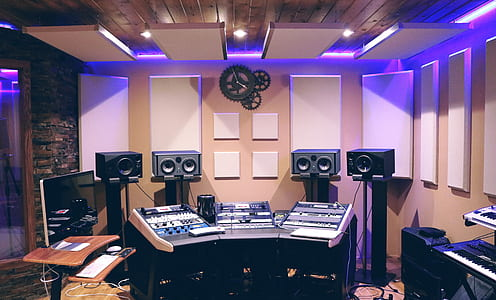 silver and black recording studio