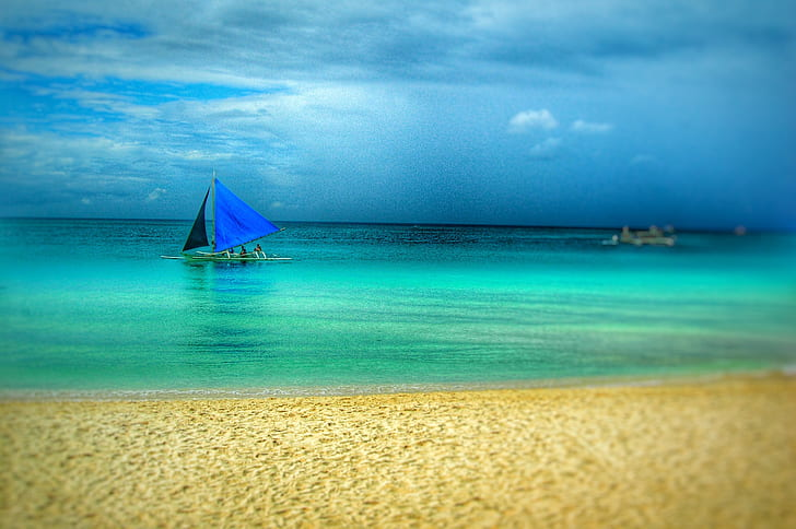 Painting of Blue Boat on Beach