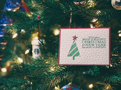 white and green Merry Christmas card