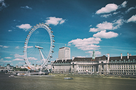 Wide angle shot of the London Eye sitting at the Southbank on the River Thames in London, England