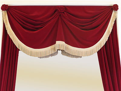 red fringed curtain