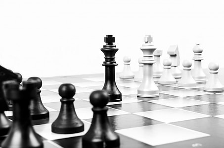 shallow focus photography of white and black King chess pieces